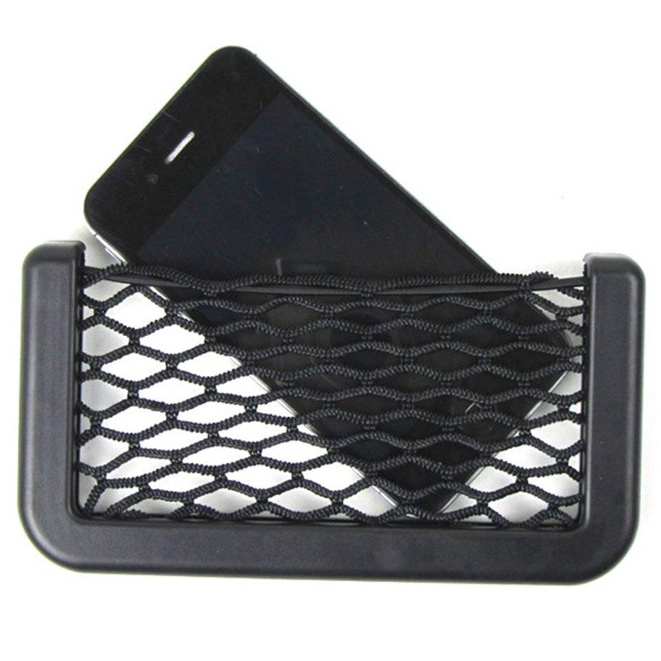 Mini Portable Car Auto String Mesh Bag Storage Pouch for Cellphone Gadget Cigarette Black