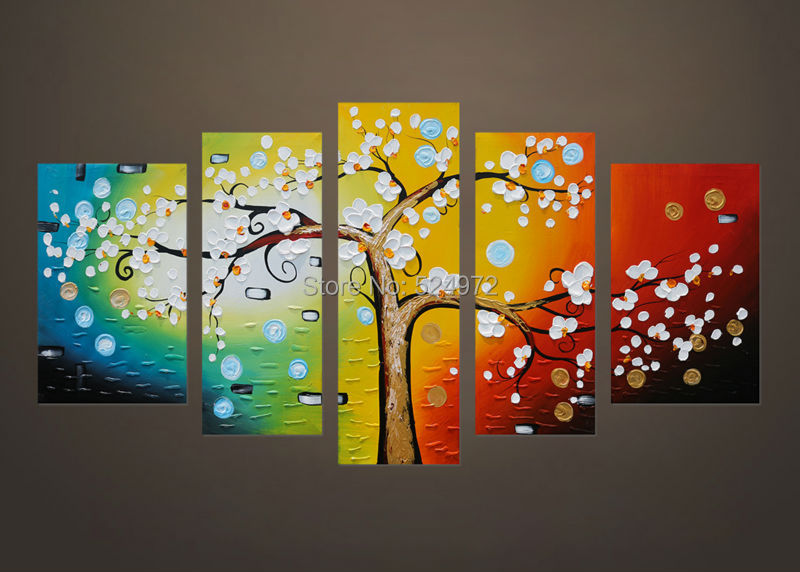 100 Handpainted modern home decor wall art picture white flower tree thick palette font b knife