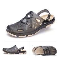 2018 новая летняя прозрачная обувь для мужчин сандалии пляжные тапочки sandalias открытый свет с отверстиями сланцы летние на