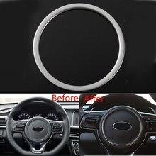 Car Chrome Steering Wheel Panel Cover Badge Frame Trim For KIA OPTIMA 2016 2017 Insert Trims Covers Interior Mouldings