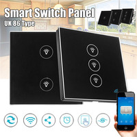 KINCO Black UK AC 100 240V 10A 1 2 3 Gang Smart Switch Panel Timing Smart