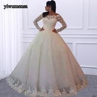 YiWuMenSa Hot Sale Vestidos De Novia Lace A Line Wedding dress 2018 Appliques Long Sleeves Bridal Gown Romantic Wedding dresses