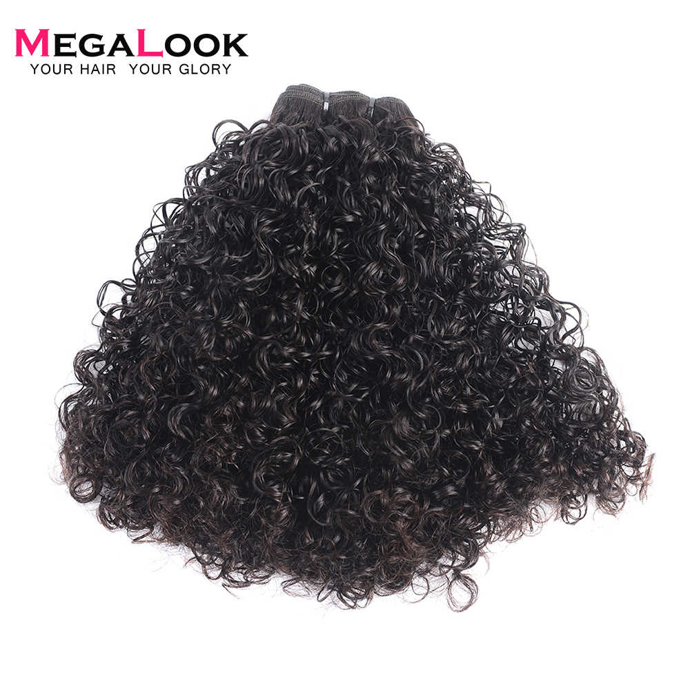 Megalook Human Hair 3 Bundles With Frontal Closure Plucked with Baby Hair Double Telephone Curl 13X4 Lace Frontal Remy