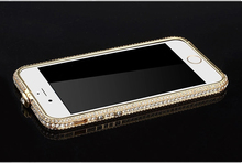 Фотография For iPhone 6 Plus Bumper Diamond Stone Metal Cover Luxury Aluminum High Quality For Apple 5.5 inch Birthday Gift Present Hot