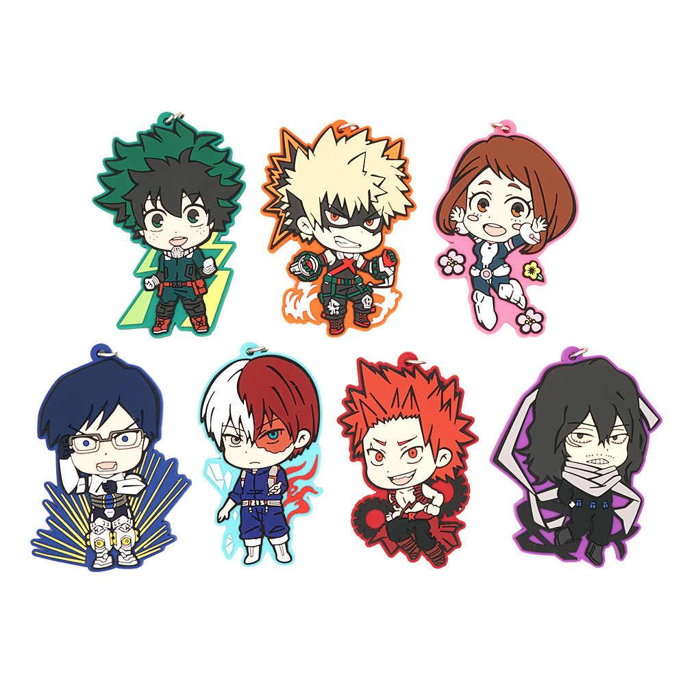 My Hero Academia Anime Boku No Hero Academia Midoriya Deku Todoroki Shoto Katsuki Bakugo Eijiro Shota Rubber Keychain Action Figures Aliexpress