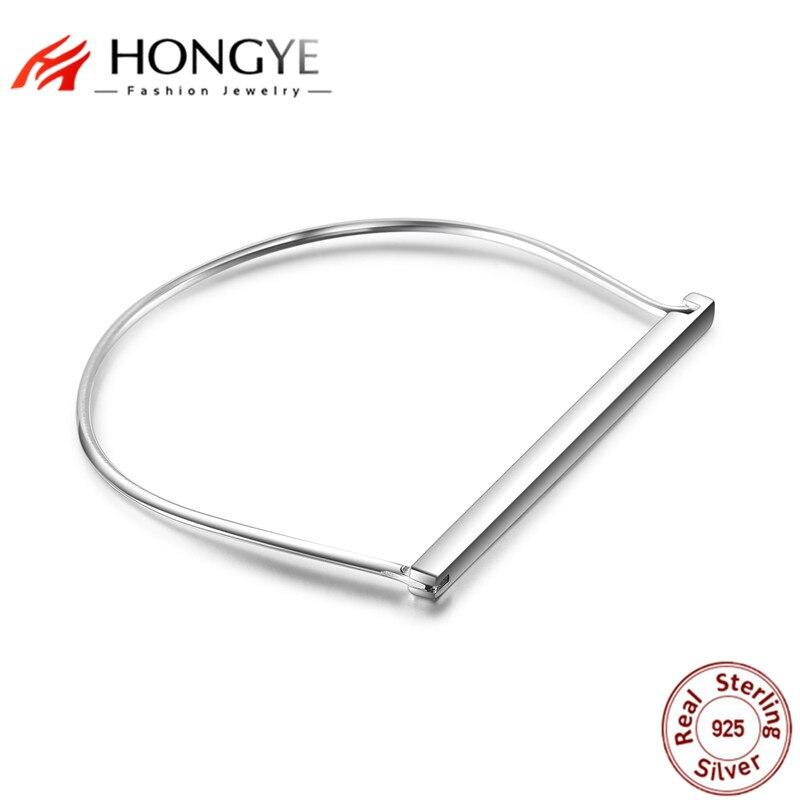 HONGYE 2018 Simple Punk 925 Sterling Silver Bangles Jewelry For Women/Men Original Fashion Charms European Style Bracelet