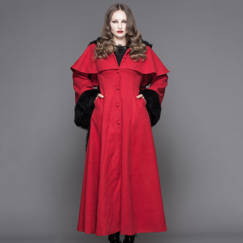 Rojo Devil Piel Negro Abrigo Mujeres Negro Fashion De Polar Y Con rojo Sombrero Invierno Flocado Punk Puños Gabardina Capucha Gótico Capa vFa4nv