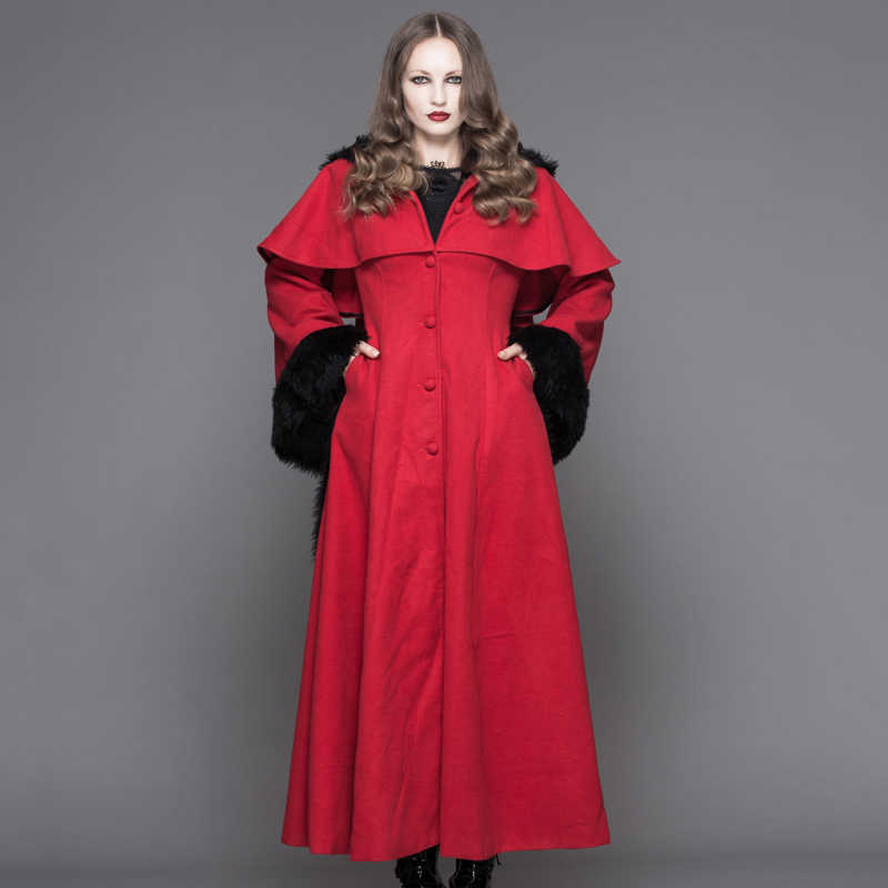 588c4b632ce ... Devil Fashion Punk Winter Fleece Hooded Cape Overcoats Gothic Black Red  Women Flocking Trench Coats with ...