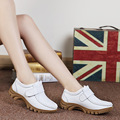 HOTAHOY Swing Shoes Breathable Genuine Leather Flat Women Platform Shoes White Soft Nurse Shoes Woman Work Cut-out