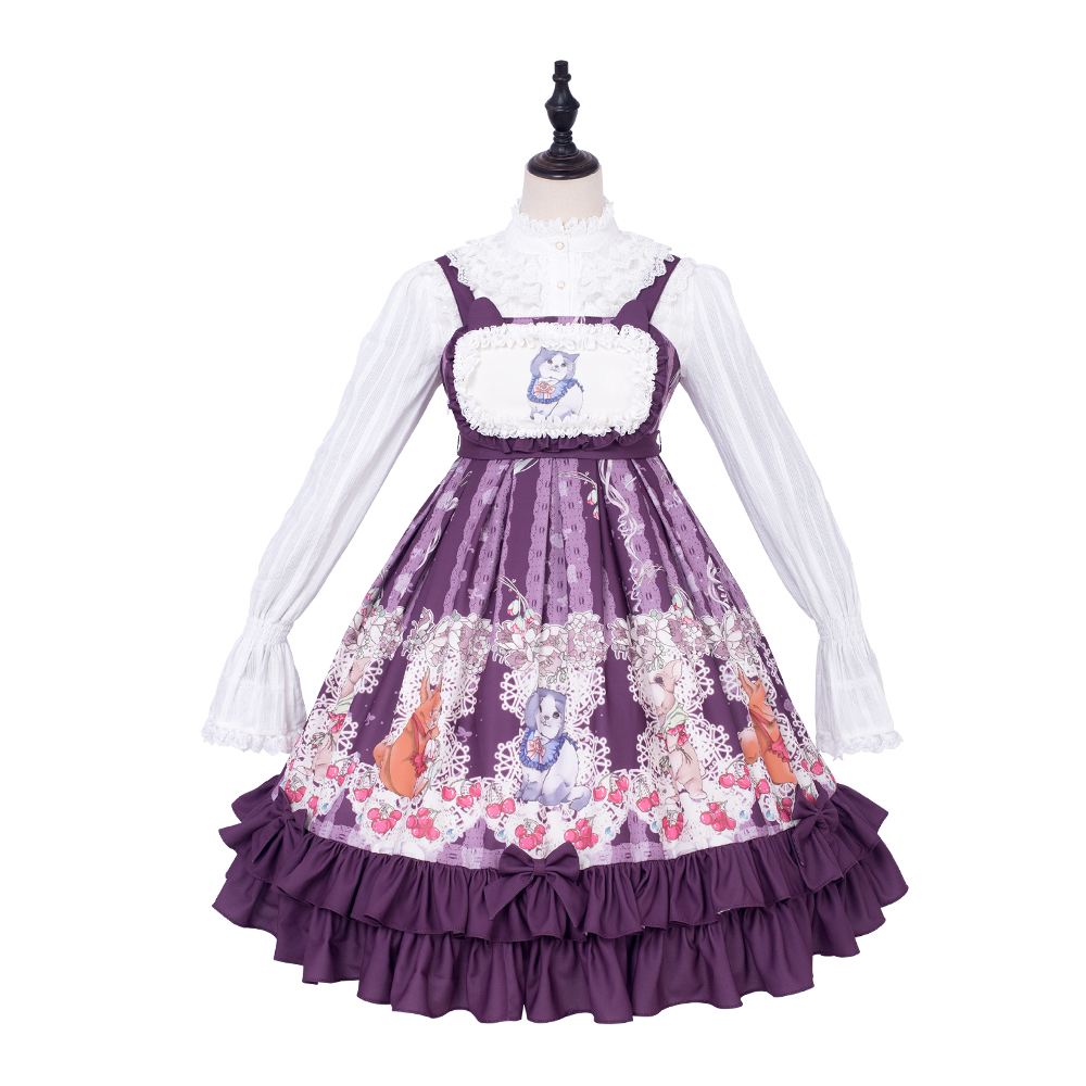Sweet Lolita Victorian Dress Purple Sleeveless Printing Bowknot Cute New Year Lotus Dress Kawaii Tea Party Loli Skirt Plus Size in Lolita Dresses from Novelty Special Use