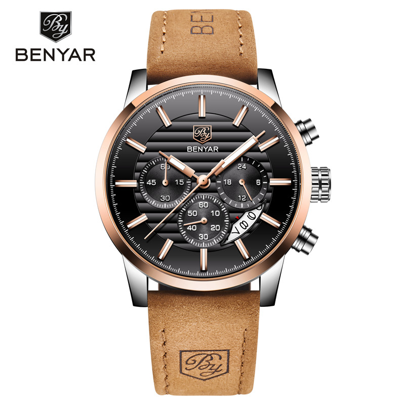 <font><b>BENYAR</b></font> Watch Men 2019 New Luxury Brand Chronograph Men's Business Watches Waterproof Leather Quartz Wristwatch Relogio Masculino image