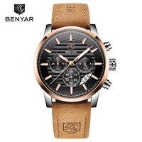 Benyar 시계 남자 2019 새로운 럭셔리 브랜드 크로노 그래프 남자 비즈니스 시계 방수 가죽 석영 손목 시계 relogio masculino|수정 시계|   -