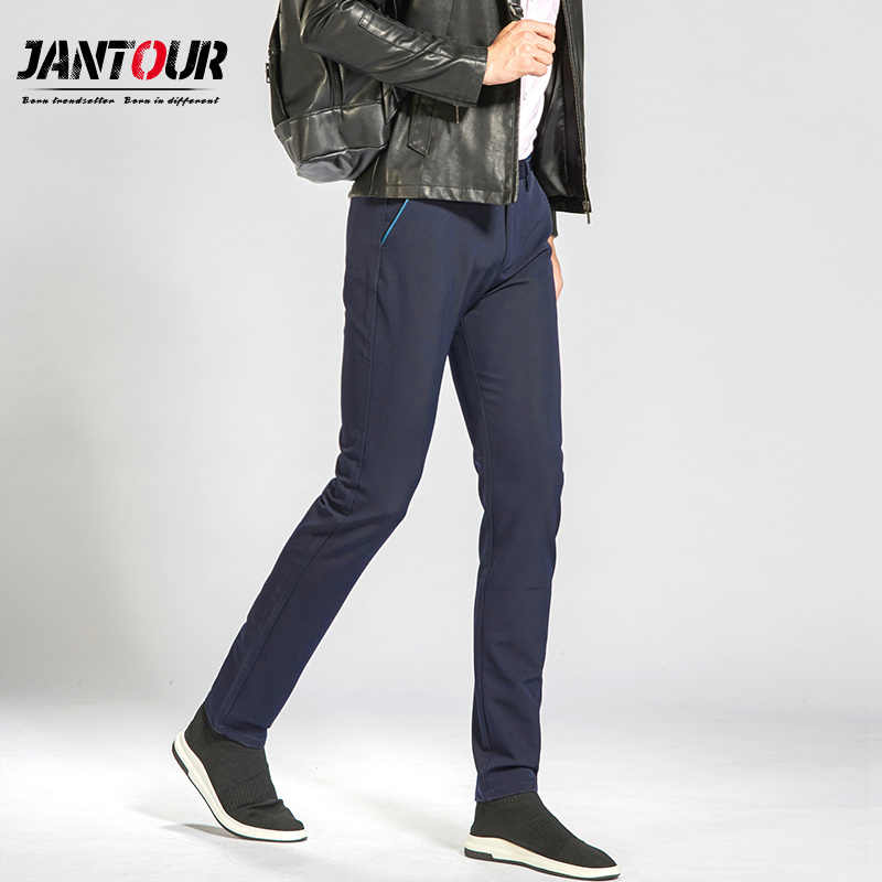 Jantour2018 Новое поступление мужские Повседневное Бизнес брюки стрейч брюки прямые брюки цвет: черный, синий хаки большой размер 38 40 worksuit