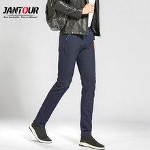 30cc303a66158 Jantour2018 Yeni Varış Erkek Rahat Iş Pantolon Streç pantolon düzenli Düz  Pantolon Siyah Mavi Haki Büyük