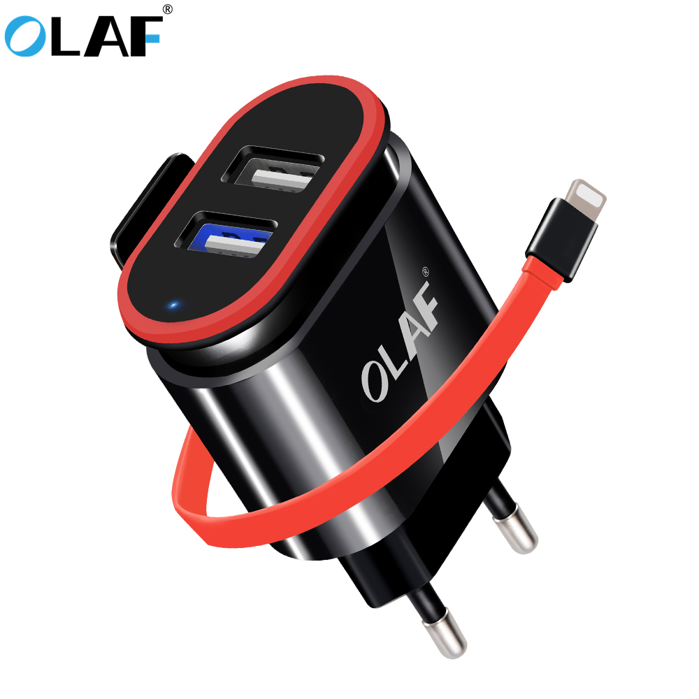 OLAF Dual USB Charger With USB Cable EU Wall Travel 3.4A Fast Mobile Phone Charger Adapter For iPhone Samsung Xiaomi Huawei