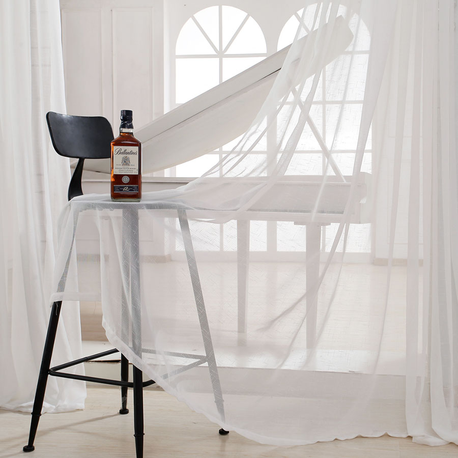 Eseld white jaquard voile curtains for livingroom rod pocket tulle ...