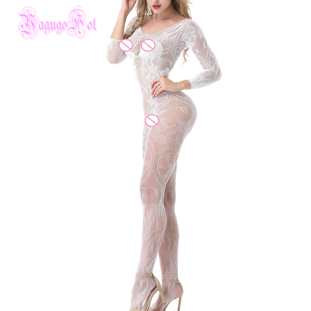 Lace Floral Long Sleeved Bodystocking  2