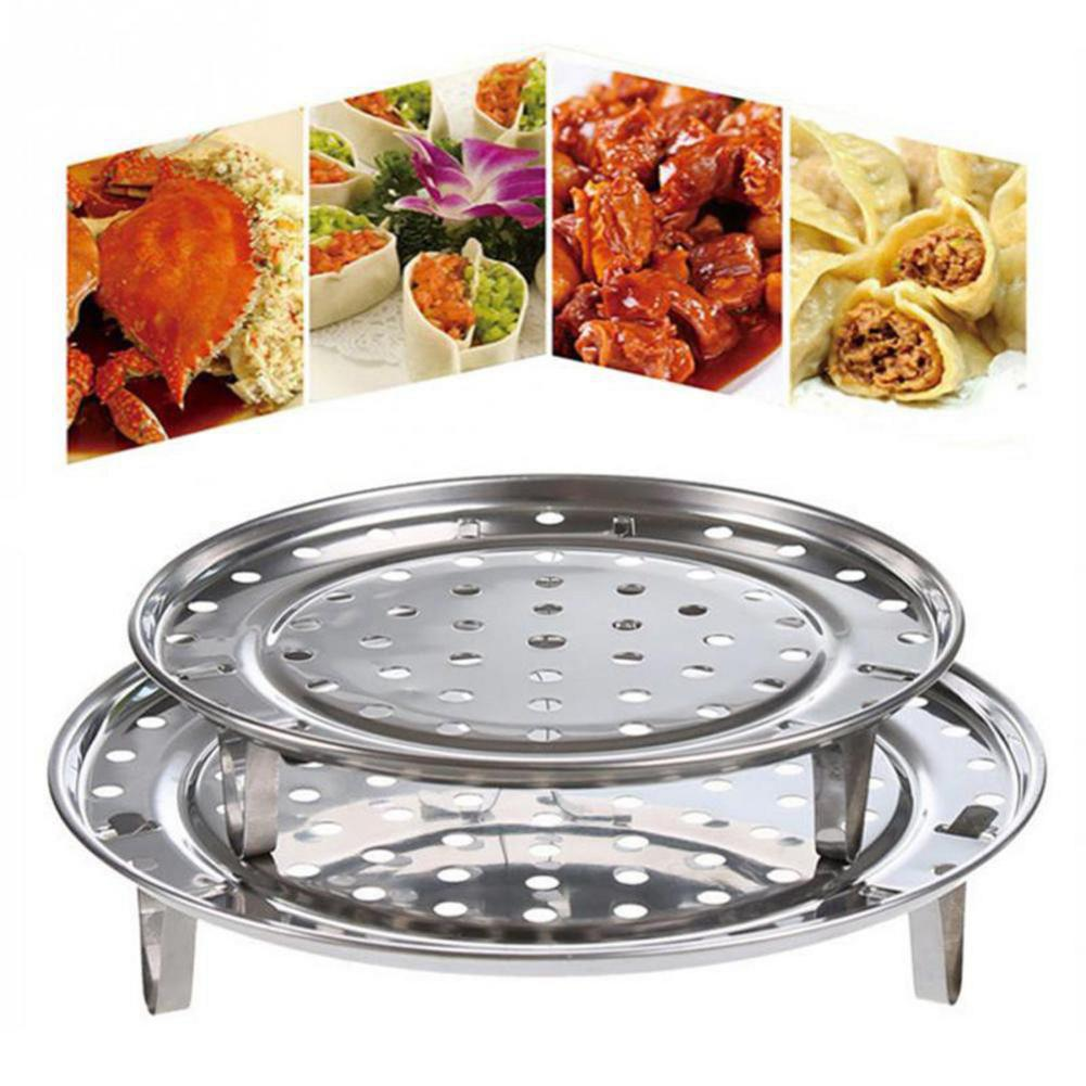 Multifunctional Stainless Steel Cooking Steamer Rack Three-Leg Round Dumpling Steamer Tray Food Steaming Stand Kitchen Tool Q76