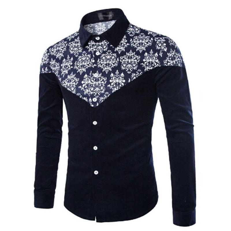 Solid Printed Flower Navy Blue Cotton Turn down Collar Long Sleeve 5XL Casual Male Dress font