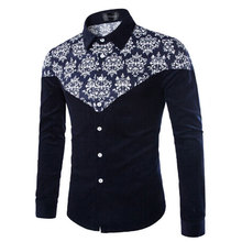 Solid Printed Flower Navy Blue Cotton Turn-down Collar Long Sleeve 5XL Casual Male Dress Shirts Slim Clothe Free Shipping Camisa