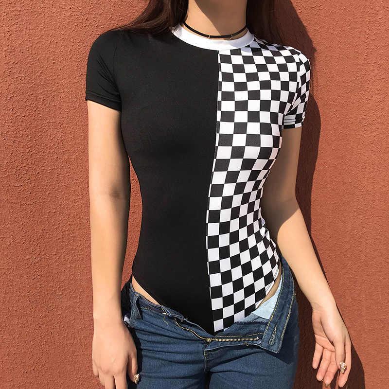 Donne casuali di Estate Plaid T-Shirt Sexy Dell'annata Manica Corta O-Collo Scacchiera Guaina Tees Top Color-block Magliette Spedizione Tee