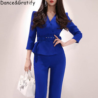 2019 New Fashion Blue V neck Office Work Jumpsuits Body Suits For women Elegant Business Pantalon Full Length Overalls