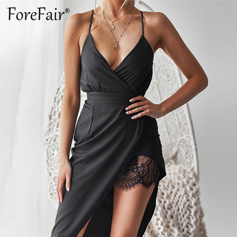 Forefair Summer Black Sexy Dress Women Clothes 2019 Sleeveless Backless V Neck Wrap Patchwork Lace Slit Strap Party Dresses