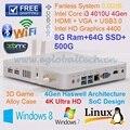 Mini Nettop Fanless Micro PC com Intel Dual Core I3 4010U 8 GB Ram 64 GB SSD de 500 GB HDD USB3.0 antena dupla HD HTPC 4 K