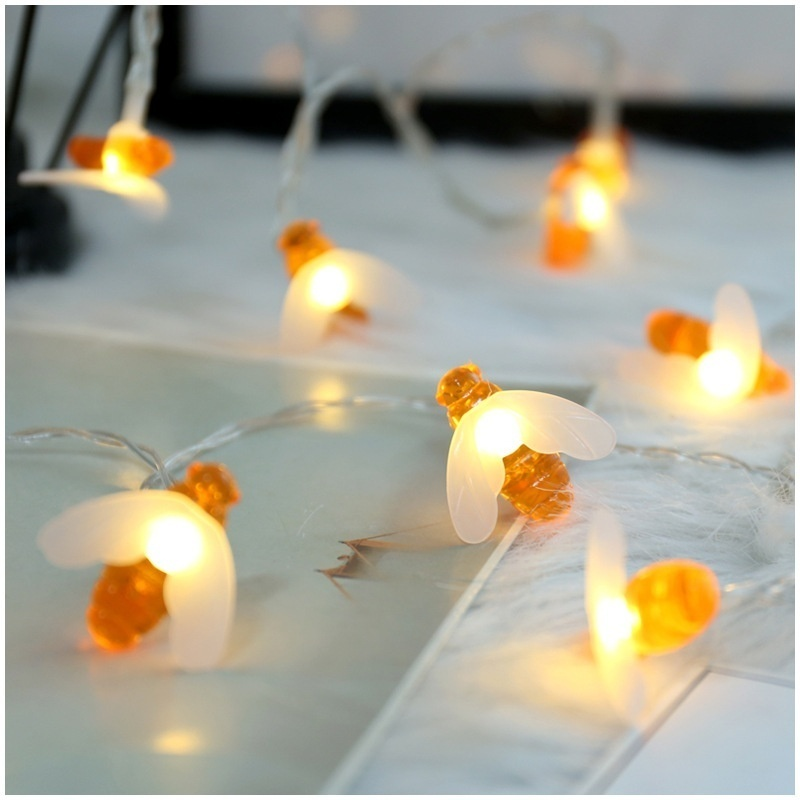 2M10LED Lifelike Honey Bee Led String Fairy Light Outdoor Garden Fence Patio Garland Lights Wall Decor Birthday Party Diy Decor(China)