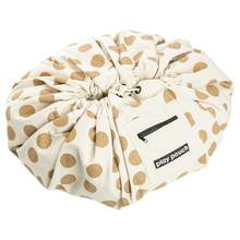 Gold Polka Dot Canvas Round Floor Play Mat Toy Storage Bag Pouch Floor Carpet Rug Nursery Rug(China)
