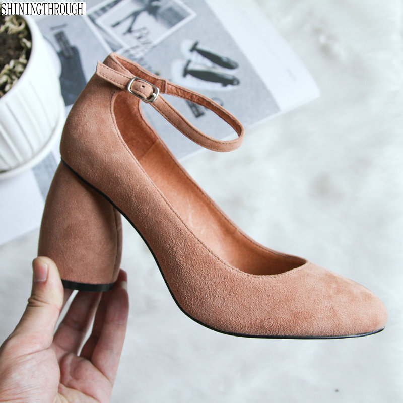 Genuine Leather Shoes Women Pumps Ankle Strap High Heel Shoes rouned Toe Ladies Dress Pumps Black large Size 34-42 aiyuqi 2018 new 100% genuine leather women shoes big size 41 42 43 low heel pumps trend ladies shoes women dress shoes