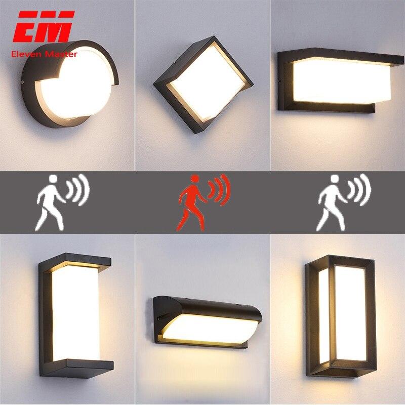 18W led duvar ışık su geçirmez IP66 sundurma ışık Modern led duvar lambası Radar hareket sensörü avlu bahçe açık ışık ZBW0001
