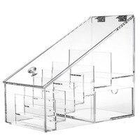 Transparent Acrylic Cosmetic Storage Box Dresser Jewelry Box Can Flip Women Makeup Box Ladder Lip Storage