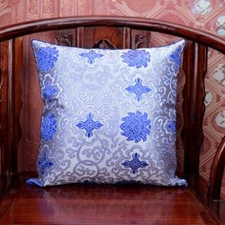 Винтаж жаккардовая подушка для кресла, дивана крышка шелковая подушка чехол площадь в этническом стиле декоративные подушки атласные рождественские наволочка 45x45 - Цвет: Белый