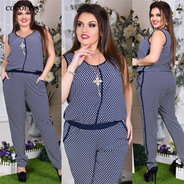5XL 6XL Plus Size Summer Women Jumpsuits Floral Print 2018 Sleeveless Big  Size Rompers overall Casual Female Large Size Jumpsuit 228030a88972