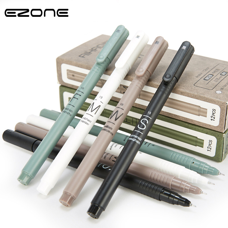 EZONE Simple Style Gel Pen 1 Box (12Pcs) Blue Ink/ Black Ink Canetas Business Pen Stationery Office School Supplies Papelaria mini pocket quality office writing gel ink pen school supplies stationery 0 5mm blue black ink 4 colors pink white blue gray