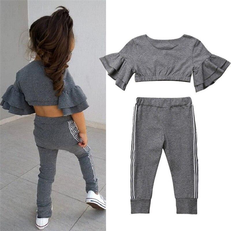 Toddler Children Clothes Set Flare Sleeve Top Pant 2pcs Suit Cotton Casual Fashion Girl Clothing Set