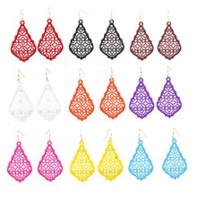 2019 New Arrival Small 3D Water Drop Painted Filigree Earrings Colorful Hollow Dangle For Women Matte Fram