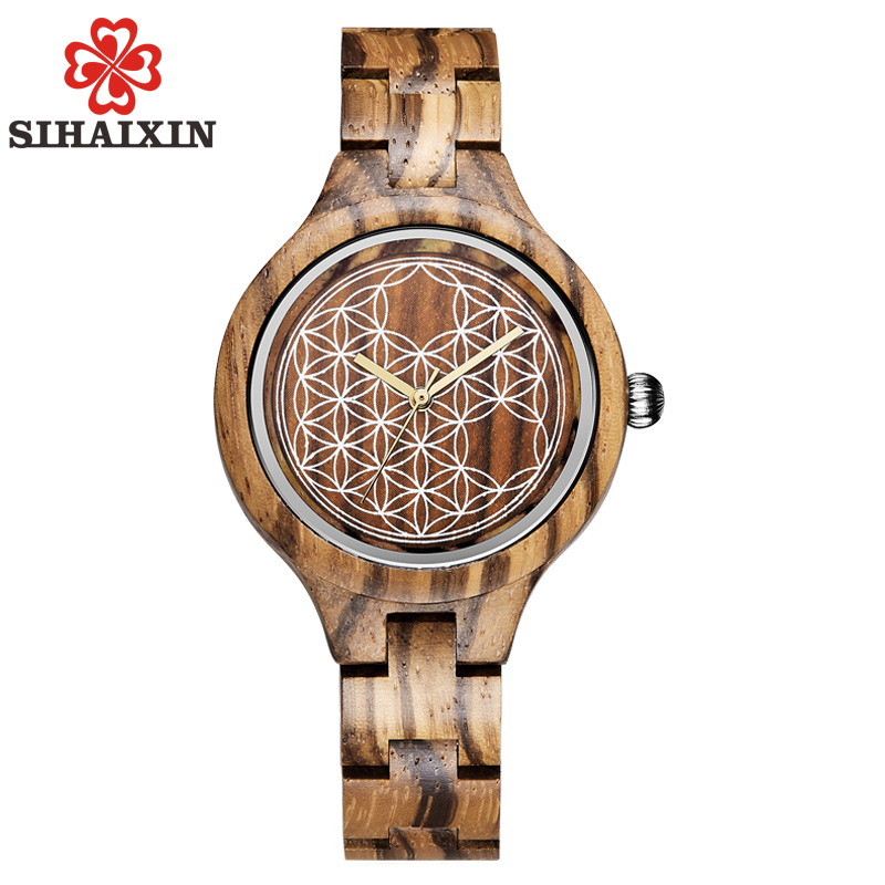 SIHAIXIN Timepieces Wood Women Watch Top Brand Luxury Zebra Bamboo Wooden Female Quartz Clock Free Shipping Design Lady Watches
