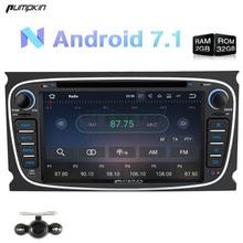 Calabaza 7 Pulgadas 2 Din Android 7.1 Coches Reproductor de DVD Para Ford Mondeo/Focus Radio Del Coche Del Mapa de Navegación GPS FM Bluetooth de Radio 3G estéreo