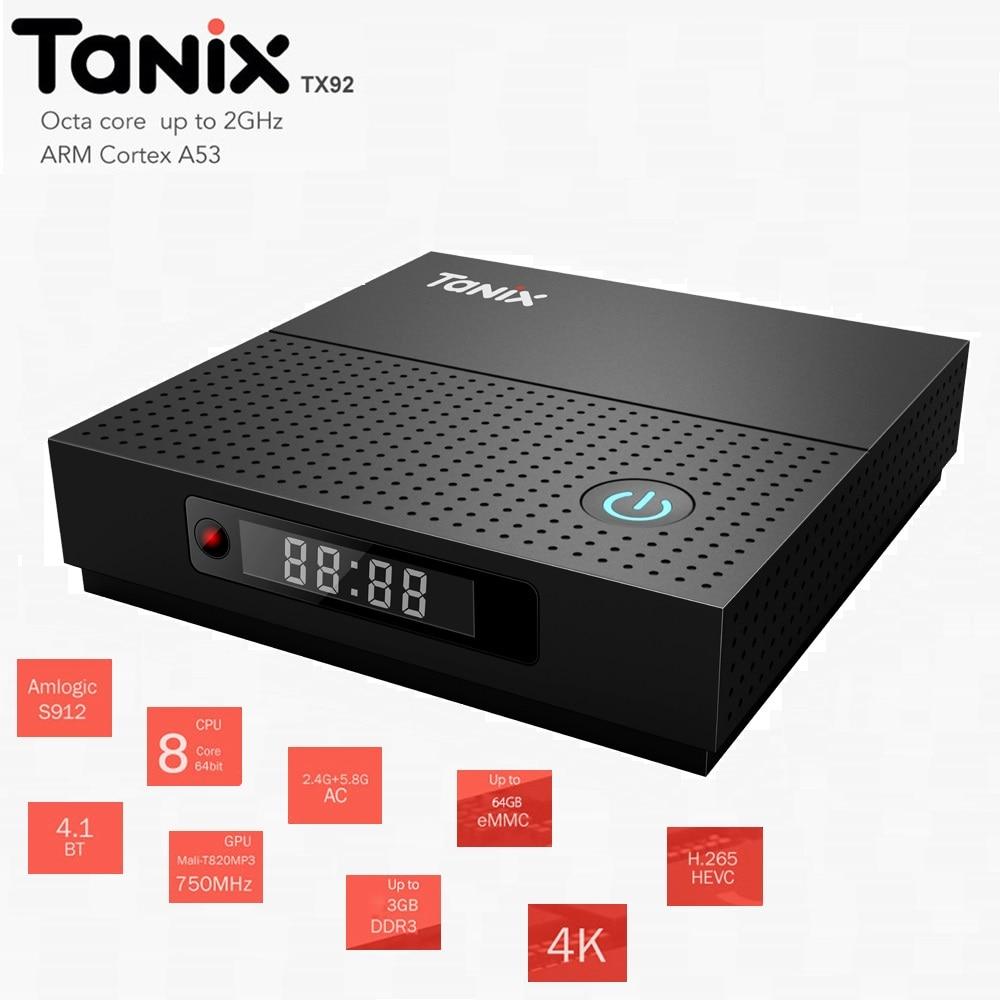 Tanix TX92 Boîte de Télévision Intelligente 3 + 32 gb Android7.1 avec Amlogic S912 octa-core 2.0 ghz CPU Bluetooth 4.1 4 k 1000 m LAN Décodeur