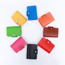 Конфеты цвет женщин PU кожаный карман бизнес ID кредитной карты держатель чехол бумажник для 24 карты, расположение
