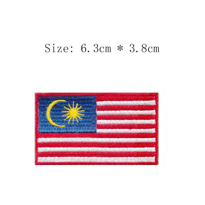 2.5 Wide Free Shipping Malasia Embroidery Flag Patch Kuala Lumpur Emblem Wholesale Iron Sew Sleeve For Motorcycle Jacket Coat Arts,crafts & Sewing