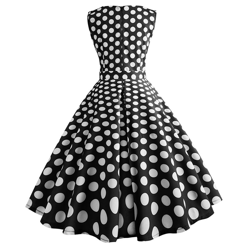 Retro letné párty šaty 1950 s bodkami Swing style (8 variánt) 12