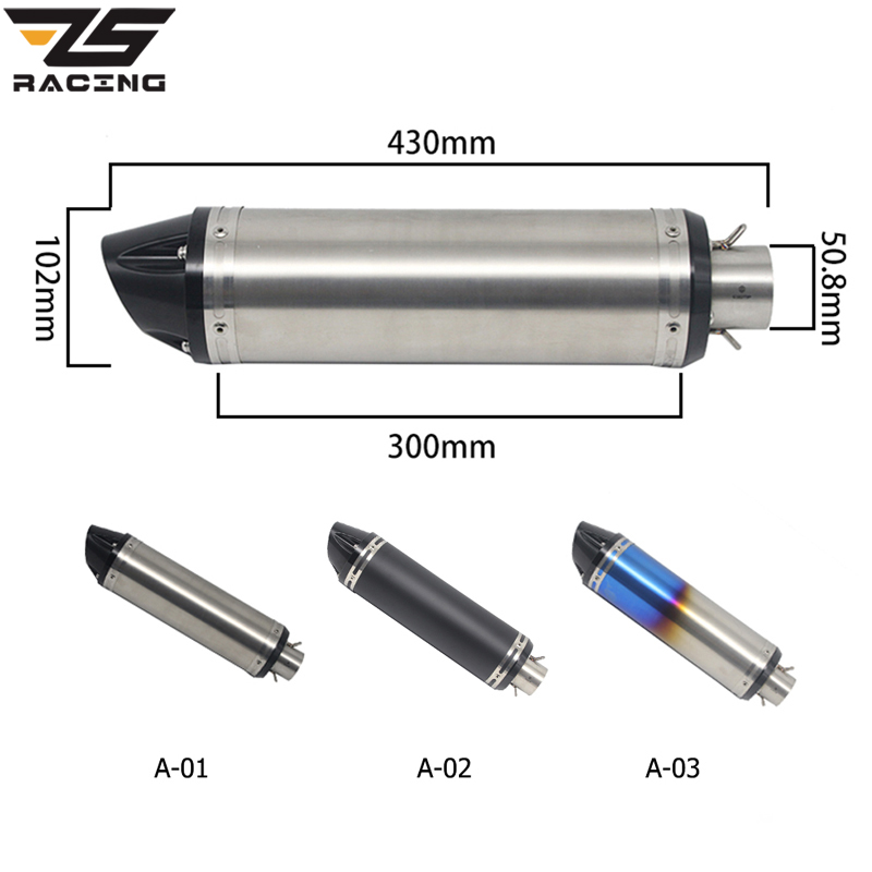 ZS Racing Inlet 51mm Motorcycle Exhaust Pipe Muffler Stainless Steel SC GP Racing Project Exhaust Mufflers For GSX1300 GSX1000R zs racing 51mm motorcycle exhaust muffler sc gp escape exhaust mufflers carbon fiber exhaust pipe for z1000 z750 z800 ninja250
