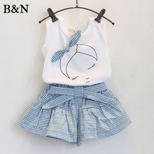 2 Pieces Sets Baby girl clothes Childrens clothing set Summer Kid Clothes Vest Pants Shorts Casual Sleeveless Tops 2-6T Tees