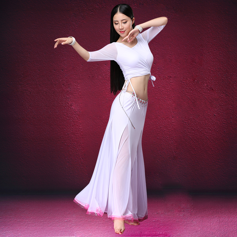 2018 Autumn Winter Women Dancewear Belly Dance Clothing 3pcs Outfits Girls Oriental Dance Costumes Set Top, Jacket Skirts