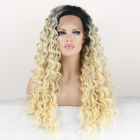 COLODO Black Root Ombre Blonde Two Tone Color Synthetic Lace Front Wig Long Curly Hair Wig
