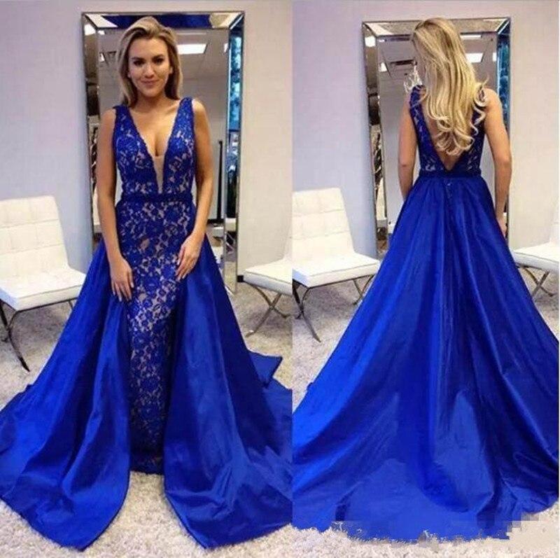 Bleu Dubai arabe robes de soirée avec Satin détachable Train dentelle robes de bal col en v dos nu personnalisé célébrités robes Longo