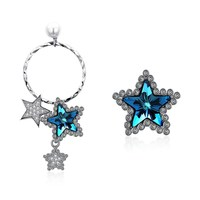 Royal Blue Star Shap Crystal Comes From The Swarovski Asymmetrical Star Model S925 Sterling Silver Earrings
